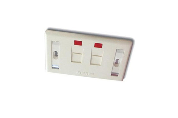 COMMSCOPE/AMP US Style Low Profile Faceplate, 2-Port Shuttered, w/Label & Icon, Almond 0-0272368-2